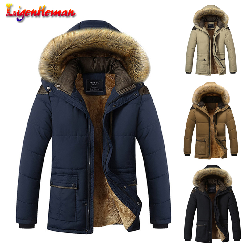 Winter New 2019 Slim Thick Long Jacket Men Fashion Fur Collar Hooded Wool Liner Jacket  Men Down Keep Warm Coat Windproof