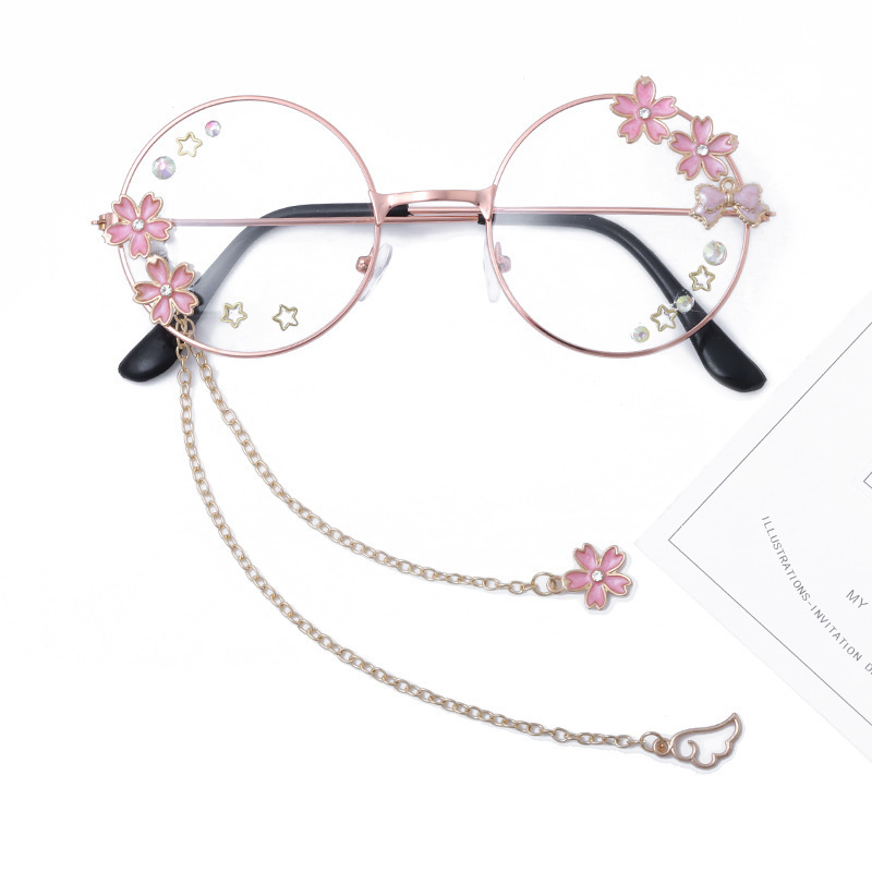 Cute Handmade Wing Sakura Pendant Clear Optical Glasses Frame Women Round Girls Retro Gothic Eyewear Bowknot Glass Oculos Gafas