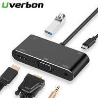 5 en 1 Type C vers HDTV VGA USB 3.0 adaptateur convertisseur avec 3.5 Jack USB-C adaptateur Hub pour Mac Air Pro Huawei P30 P20 Samsung S9 S8