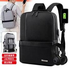 Puimentiua Slim Laptop Backpack Men Office Work Men Backpack Business Bag Unisex Black Ultralight Backpack Thin Back Packbag