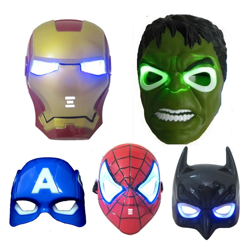 Plastic Superhero Cosplay Led Masks Half Full Face Halloween Costume Mask Kids Party Supplies Super Hero for Kids Gifts