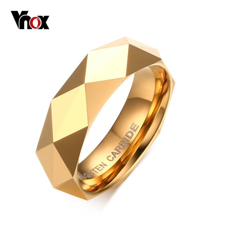 Vnox мужское обручальное кольцо из карбида вольфрама американский Размер 6 7 8 9 10 11 золотого цвета высшего качества