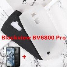 Macio preto tpu caso para blackview bv6800 pro capa traseira para blackview bv6800 pro silicone caso com vidro temperado portector