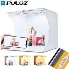 PULUZ 20cm Mini LED Ring Licht doos Lightbox Photo Studio Box Fotografie Licht Studio Schieten Tent Box Kit & 6 kleur Achtergronden