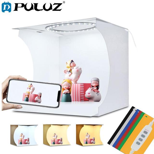 PULUZ 20cm Mini LED Ring Light box Lightbox Photo Studio Box Photography Light Studio Shooting Tent Box Kit & 6 Color Backdrops
