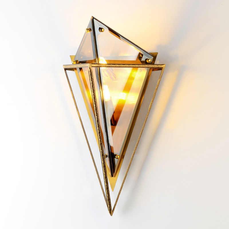 New Nordic Candeeiro De Vidro Retro Wall Light Lâmpada para Sala de estar Quarto Cabeceira Corredor Sótão de Casa Decoração Ouro Negro G9 110v 220v