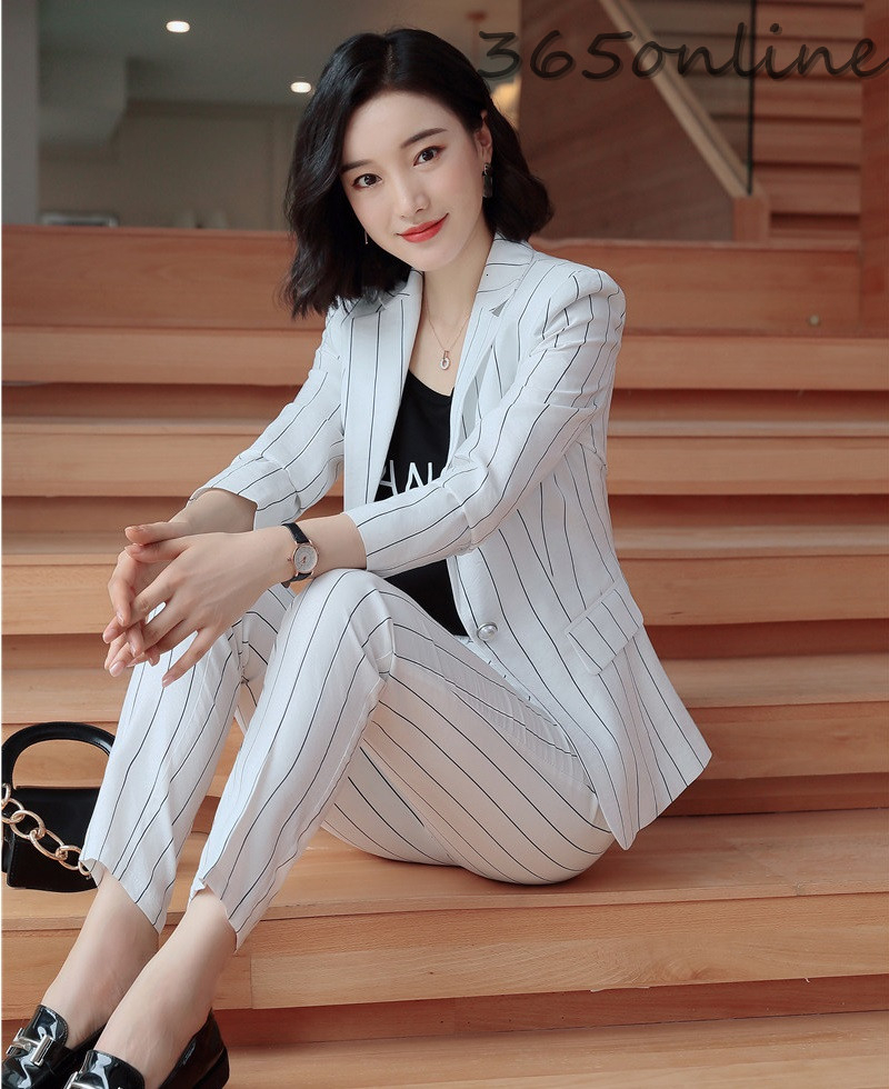 Fashion Striped Spring Autumn Formal Women Business Suits Pantsuits For Ladies Office Blazers With Pants And Jackets OL Styles