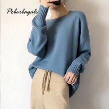 Осенние кашемировые однотонные плотные женские зимние свитера пуловеры корейский трикотаж с круглым вырезом ленивый вязаный свитер женский пуловер