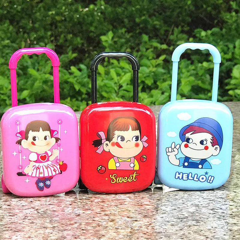 4 Pcs/box Cartoon Mini Luggage Box Case Bag Shape Smiling Girls Boys Rubber Pencil Erasers Stationery School Students Gifts