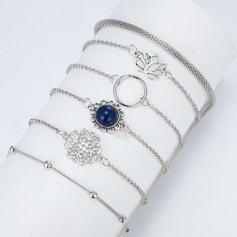 Tocona Bohemian Beads Chain Bracelets Bangles for Women Fashion Vintage Heart Compass Gold Color Chain Bracelets Sets Jewelry 3