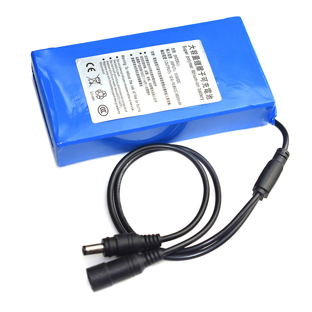Batterie Lithium-ion, 12V DC, 6800-18000mAh, Super Rechargeable, avec prise EU
