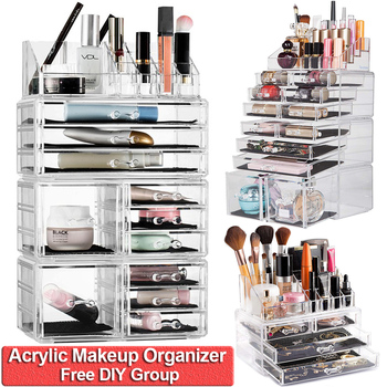 Acrylic Jewelry and Cosmetic Storage Drawers Display Makeup Organizer Boxes Case Drawers Top Case DIY Group Storage Boxes D40 goplus jewelry armoire cabinet box storage chest stand necklaces organizer wood nightstand with 5 drawers and top mirror hb82378