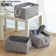S/M/L Linen Storage Basket Foldable Sundries Storage Baskets Cosmetics Container Cotton Linen Storage Box Desktop Organizer