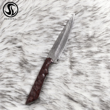 Senwill Hunting Knife Damascus Steel Straight Blade Outdoor Survival  Fixed Knives Leather Sheath Protect