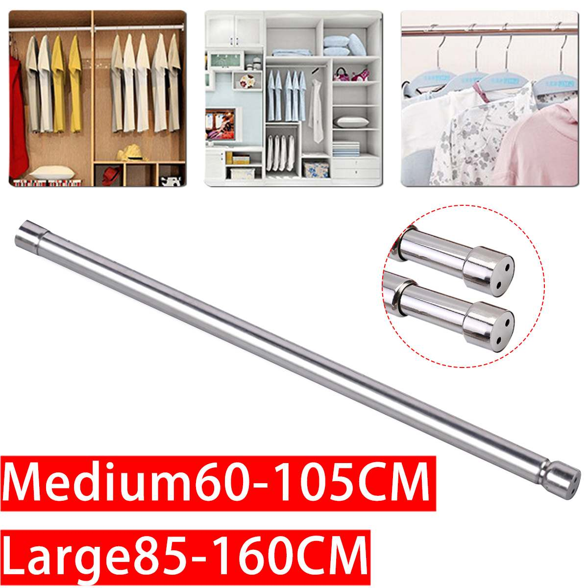 Adjustable Stainless Steel Spring Tension Rod Rail For Clothes Towels Retractable Shower Curtains Fixed Clothes rail
