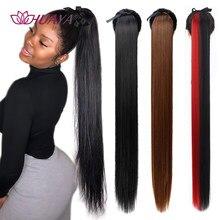 Huaya 32 Polegada rabo de cavalo sintético falso cabelo peças afro longo reta cordão pônei caudas clip em extensões de cabelo