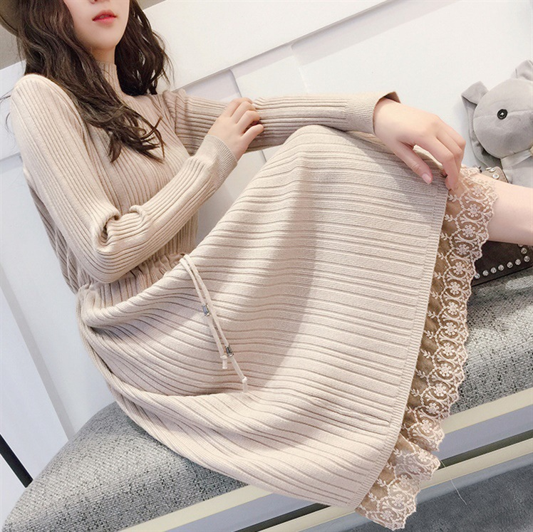 2018 Autumn And Winter New Style Knitted Lace One-piece Dress Pullover Over-the-Knee Mid-length Sweater Korean-style Long Sleeve