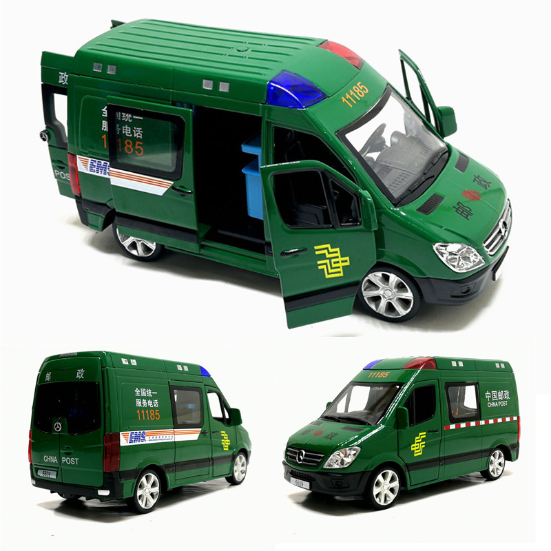 Mercedes-Benz Sprinter 1:32 Sound And Light Pull Back Four-door Door Express Delivery Alloy Car Model Toy Children's Alloy Pull