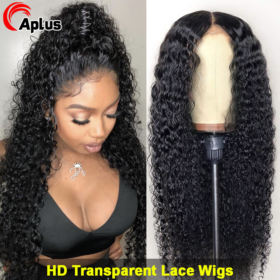 HD Transparent Curly Lace Front Human Hair Wigs Kinky Curly Wig PrePlucked Malaysian Curly Hair Wig Natural Hairline For Women