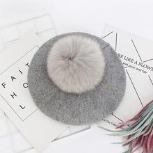 Women Girl Beret Hat Warm Wool Winter bonnets Ethnic style h