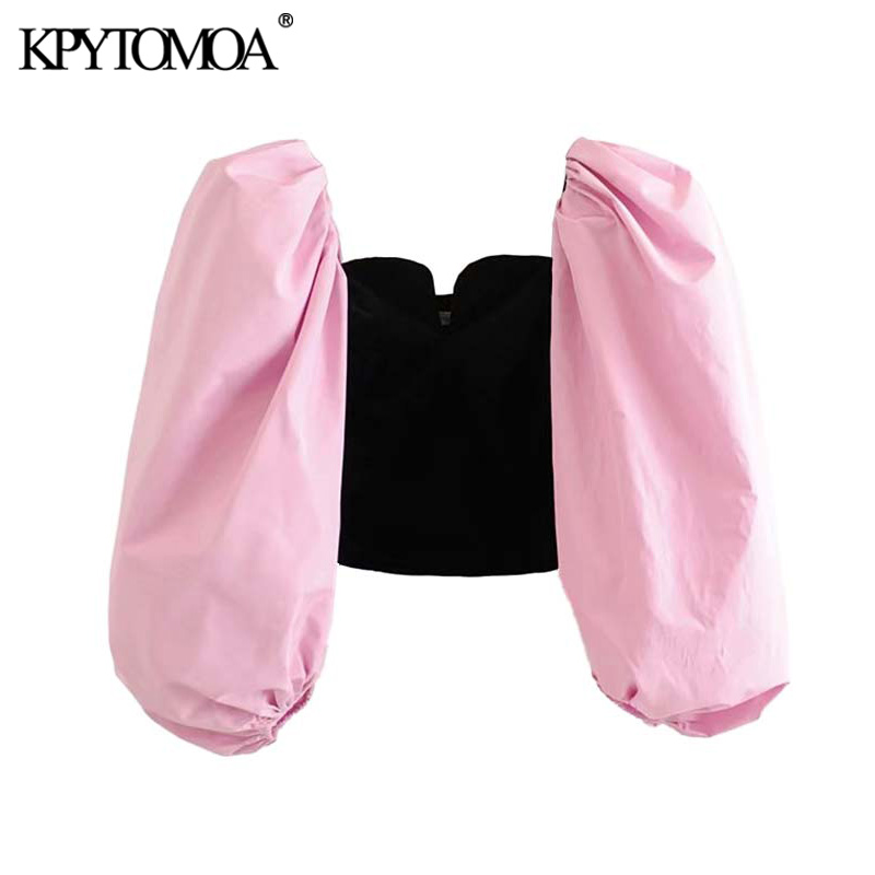 Vintage Stylish Patchwork Velvet Cropped Blouses Women 2020 Fashion V Neck Puff Sleeve Female Shirts Chic Tops Blusas Mujer