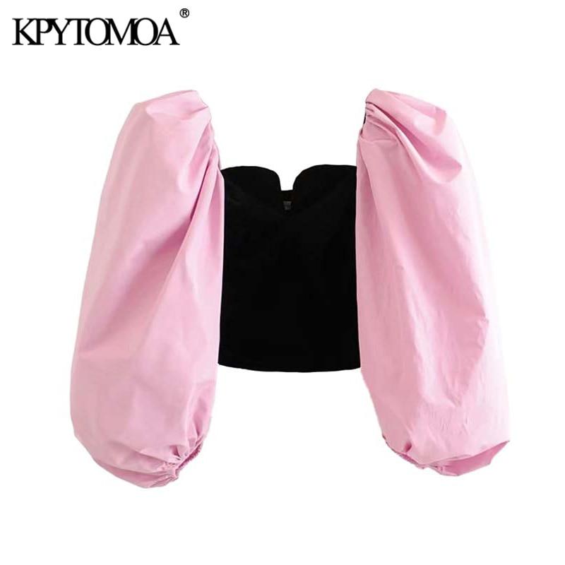 Vintage Stylish Patchwork Velvet Cropped Blouses Women 2020 Fashion V Neck Puff Sleeve Female Shirts Chic Tops Blusas Mujer