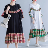 BIG SIZE 4XL Autumn Women Fashion Korea Plaid Spliced Tops Female Ladies Plus Large Long Loose Irregular Cotton Sweatshirt Dress
