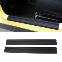 Kapı eşik plaka giriş bekçi karşılama pedalı koruyucu kapak dekorasyon Jeep Wrangler TJ 1997 2006 için ABS siyah araba aksesuarları