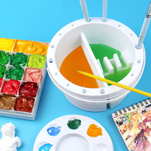 Plastic 3 in 1 Pen/Brush Washing Bucket/Barrel/Container for Watercolor/Gouache Round/Square Bucket With Penholder/Color Palette