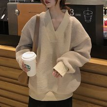 цена на Long Sleeve Solid Hoodie Women Autumn Winter V-Neck Loose Pullover Sweatshirt Plush Faux Fur Korean Teddy Cozy Top 2019 Fashion