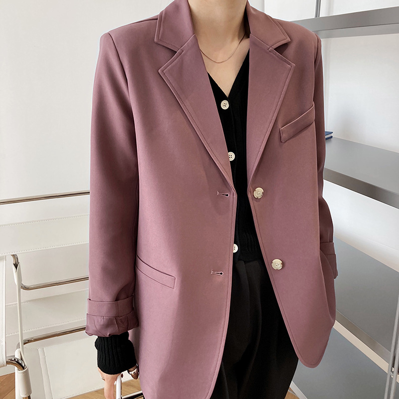 Luxi Small Suit Jacket Female Korean-Style Net Red 2020 Autumn New Retro Hong Kong-Style Drape Casual Suit 8018