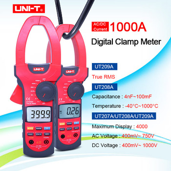 UNI-T UT207A/UT208A/UT209A 1000A Digit AC&DC Digital Clamp Meter Frequency Duty Cycle Auto Range Capactance Resistance
