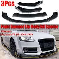 Carbon Fiber Look/Gloss/Matte Black Car Front Bumper Splitter Lip Body Kit Spoiler Diffuser Protector For Audi TT RS 2004 2019