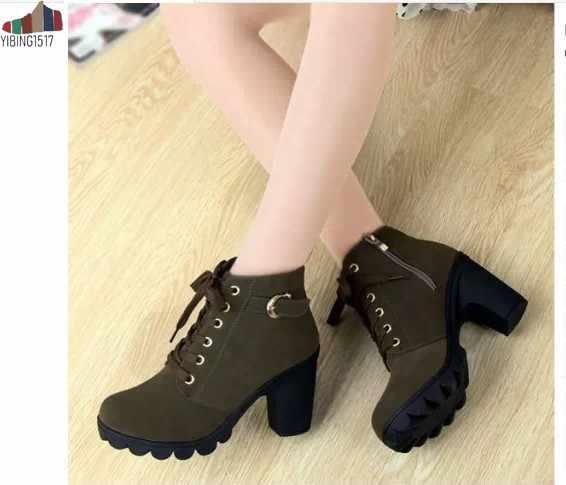 NAUSK 2019 New Outono Inverno Mulheres Botas de Alta Qualidade Sólidos Lace-up Senhoras Europeus sapatos PU Moda sapatos de salto alto botas 35-43