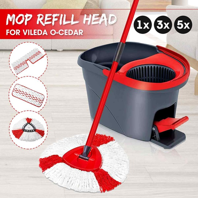 1/3/5pcs Replacement Head Easy Microfiber Spin Mop Refill Floor Mop Head Housekeeper Home Floor Cleaning for Vileda O-Cedar