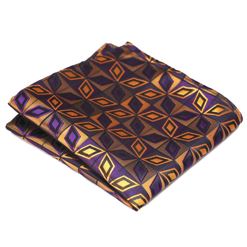 Geometric Houndstooth Purple Yellow Cream Multicolor Mens Handkerchieves Silk Jacquard Woven Wholesale Pocket Square Attractive