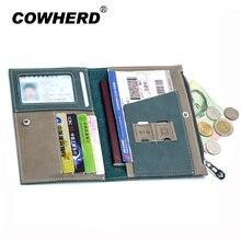 Capa para passaporte split carteira de couro genuíno carteira de motorista saco de carro documento de condução titular do cartão de crédito caso para homens
