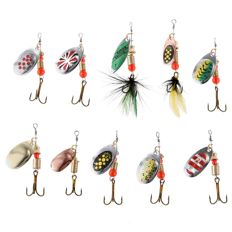 LUSHAZER 10pcs/lot fishing spoon lure spinner bait 2.5-4g metal baits spinnerbait isca artificial fishing wobbler with box