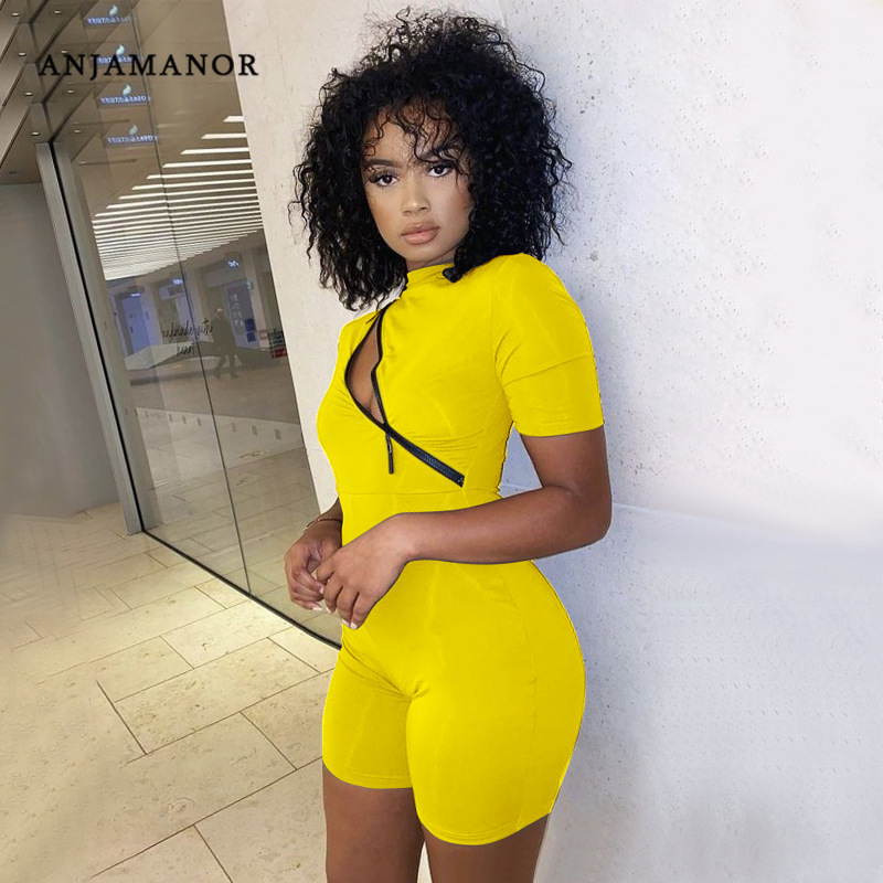 ANJAMANOR Sexy Front Zipper Cutout Short Sleeve Rompers Womens Jumpsuit Club Wear Solid Playsuit One Piece Outfit D37 CB22