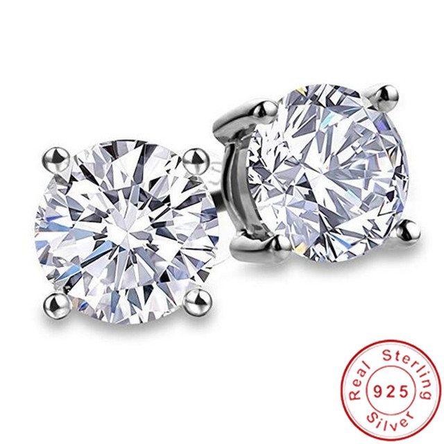 2020 Genuine 925 Sterling Silver Solitaire Stud Earring 9mm Diamond Cz Engagement Wedding Earrings for women.jpg 640x640 - 2020 Genuine 925 Sterling Silver Solitaire Stud Earring 9mm Diamond Cz Engagement Wedding Earrings for women men Party Jewelry