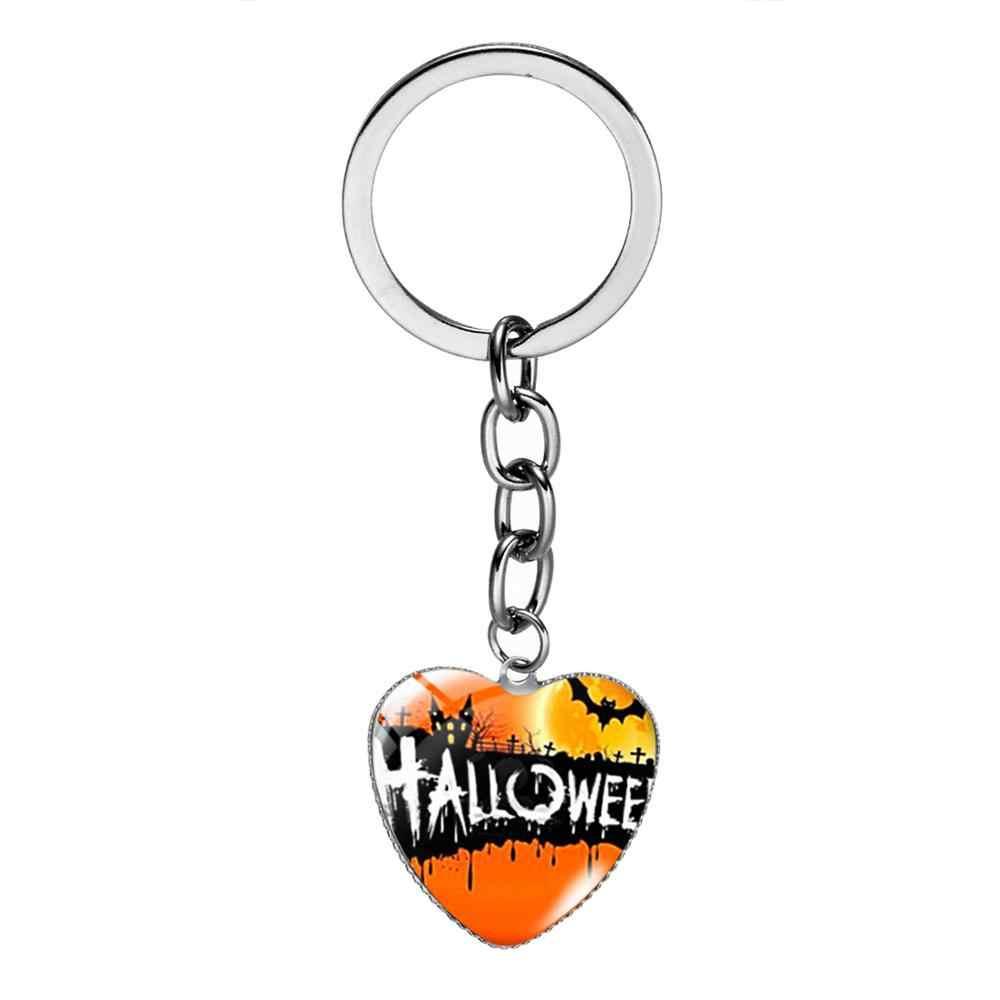 Trendi Tema Halloween Gantungan Kunci Penyihir Hitam Kucing Kartun Dicetak Kaca Cabochon Hati Gantungan Kunci Tas Pesona Anak-anak Hadiah