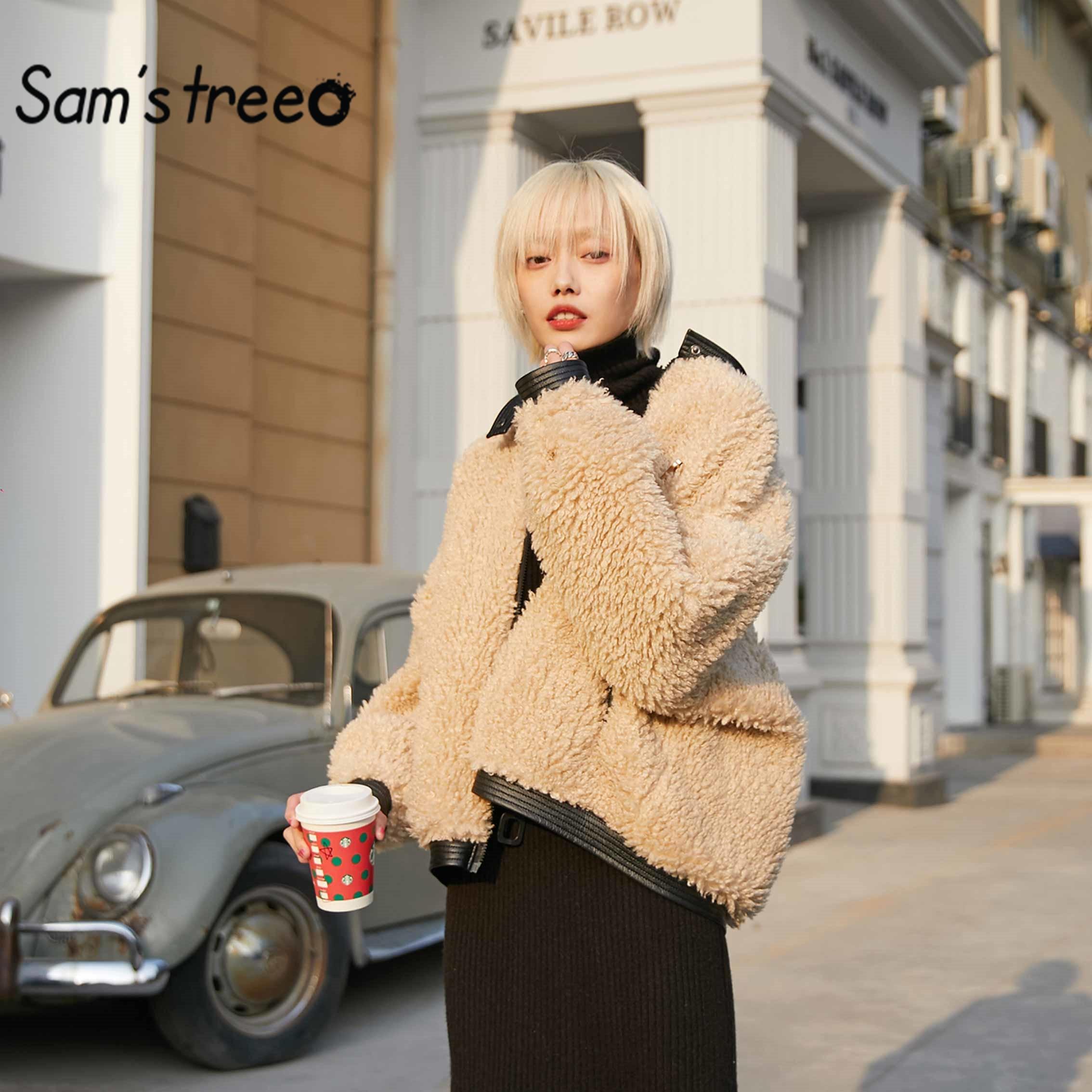 Sam's Albero Solido Nero Teddy Pigro Calore Lana D'agnello Delle Donne Cappotto 2020 di Inverno Bianco Puro Cammello Cerniera Oversive Outwears Femminili - 2