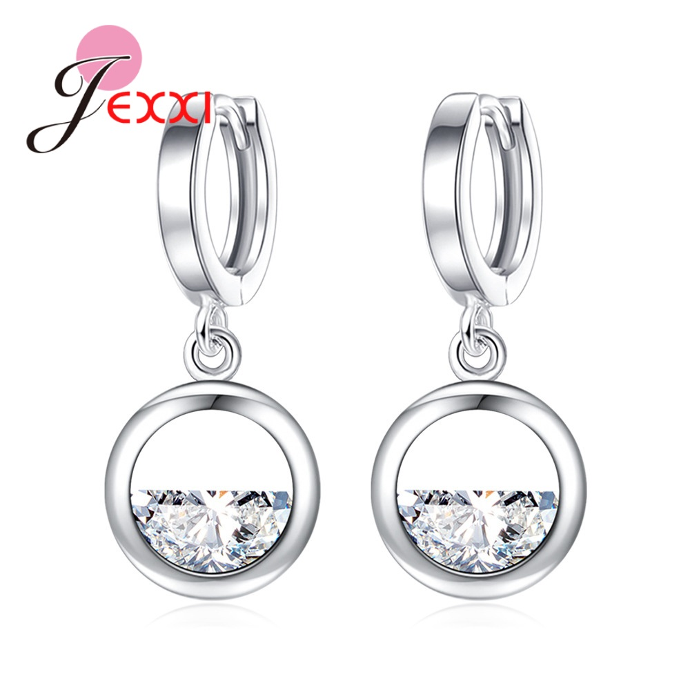 Hottest Sale 4 Models Option Woman Drop Darrings 925 Sterling Silver Jewelry for Wedding Engagement Transparent Rhinestone Made
