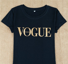 Delicate Vogue ITALIA (Gold Logo Printed ) Female Black T-shirt Summer Fashion New T Shirt Top Tees