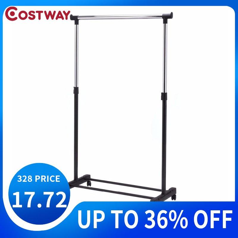 COSTWAY Adjustable Rolling Clothes Hanger Coat Rack Floor Hanger Storage Wardrobe Clothing Drying Racks With Shoe Rack HW53829