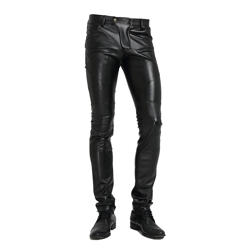 HOO  New 2019 Locomotive Leather Pants Tight Black Leather Pants Men's Cultivate One's Morality Teenagers Splicing PU Trousers