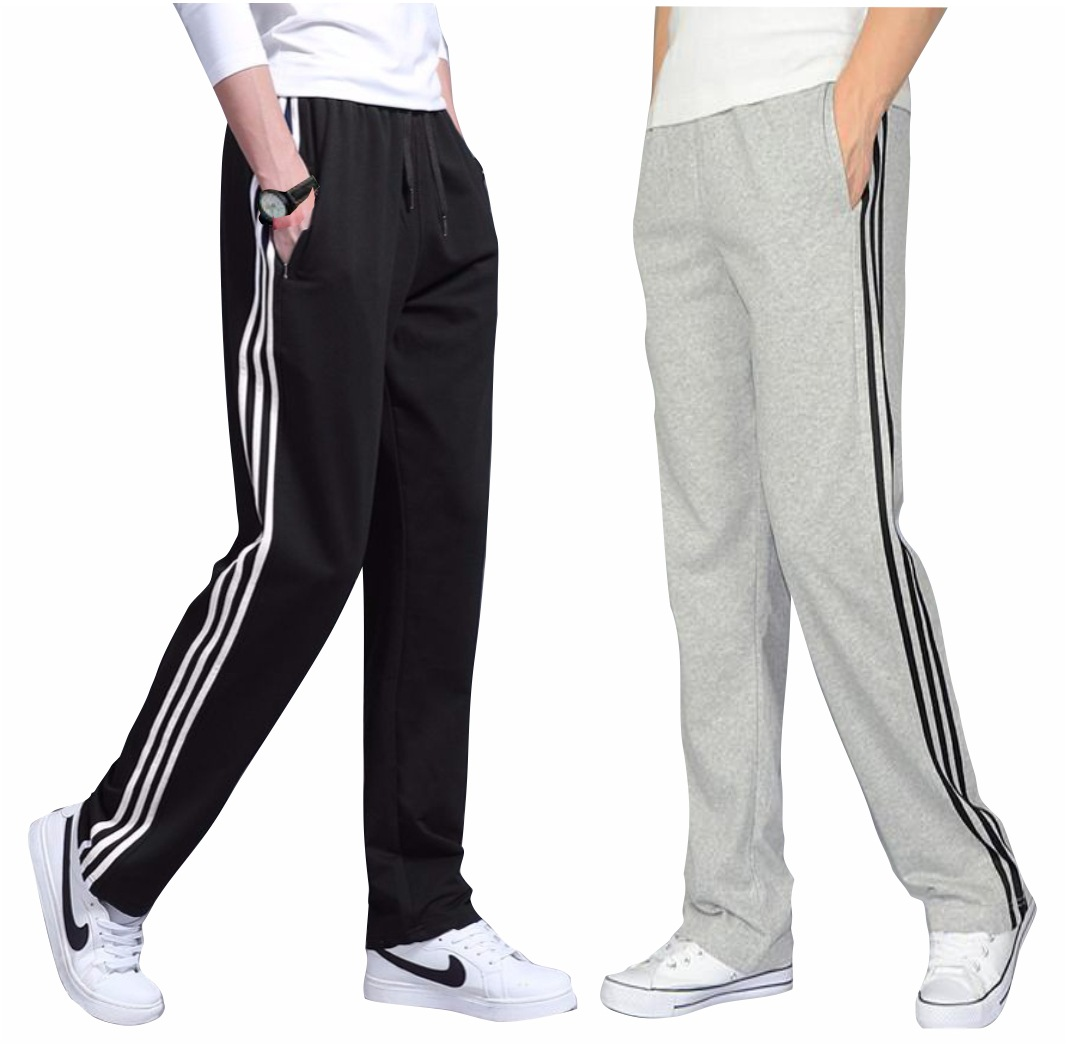 New Style Three Stripes Sports Pants Paragraph Four Seasons Loose And Plus-sized Straight-Cut Running Micro Elastic Sweatpants S
