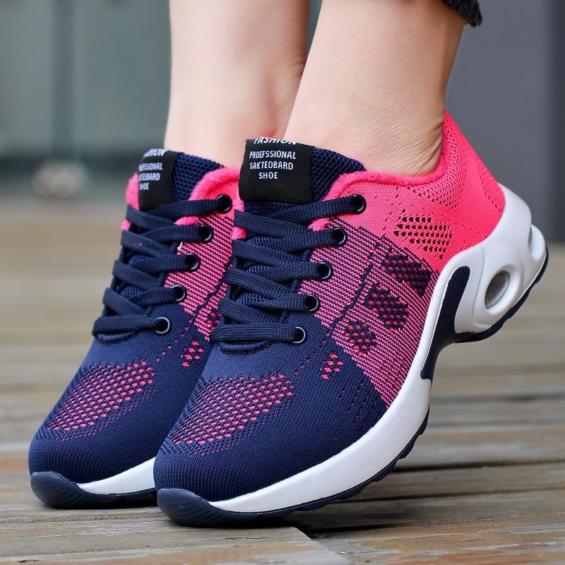 Women Air Cushion Running Shoes Plus Size 42 Light Breathable Sneakers Women Walking Jogging Ladies Flats Shoes Zapatos De Mujer|Women's Vulcanize Shoes| - AliExpress