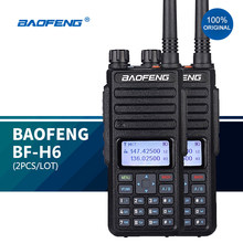 2 PÇS/LOTE BF-H6 Walkie-Talkie 10km 10W Presunto Transceptor Baofeng Rádios vhf Transmissor De Alta Potência em Dois Sentidos Rádio Dual Band 2021 NOVO