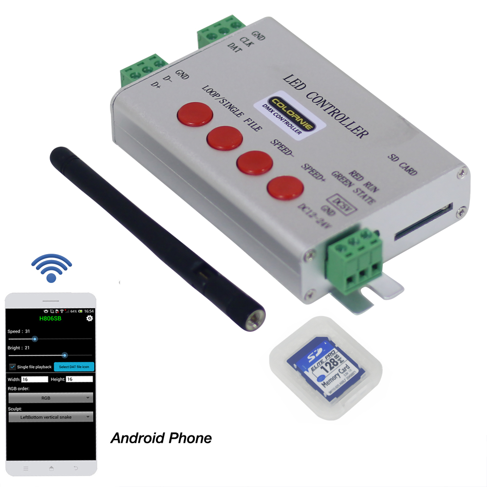 Led WIFI Controller By Android Phone Via WLAN,1Port Control 2048 Pixels, DMX512 Controller Support WS281,DMX512,etc
